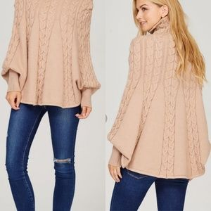 Sweaters - Taupe Knit Cape Poncho